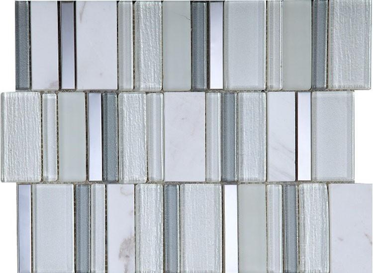 Stripes Snow Mosaic Tiles