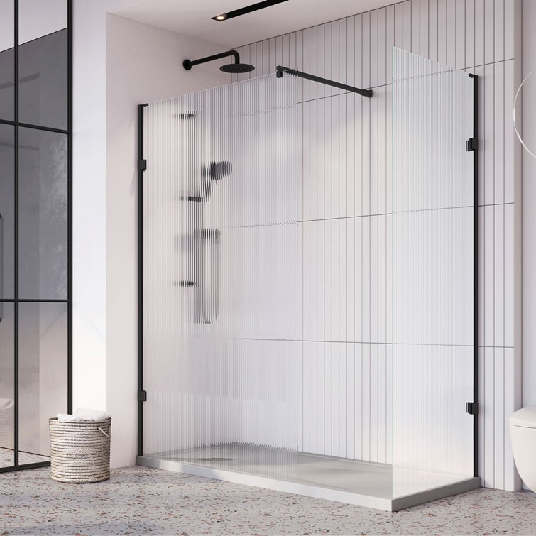 Roman Liberty Wetroom Panels with Fluted Glass
